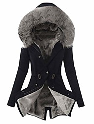 cheap -women's winter plus size overcoat fashion solid thick plush lining hooded coat ladies button long jacket black