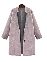 cheap -Women's Solid Colored Patchwork Fall & Winter Coat Long Daily Long Sleeve Wool Blend Coat Tops Blushing Pink