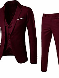 cheap -men's 3 pieces suit elegant solid two button slim fit single breasted party blazer vest pants set (wine red, xxl)