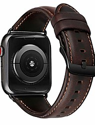 cheap -leather band compatible with apple watch band 44mm 42mm men women genuine leather strap vintage bands replacement for iwatch series 5 4 3 2 1 coffee bracelet black clasp 42/44 mm