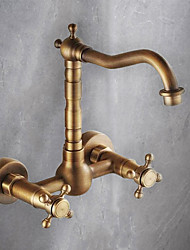 cheap -Victoria Antique Brass Bar / Prep Wall Mounted Traditional Kitchen Taps Two Holes-Kitchen faucet