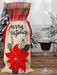 cheap -Christmas Ornaments Big Red Flower Linen 2pcs Wine Bottle Bag Red Wine Bottle Sleeve Lattice Linen Wine Bottle Bag