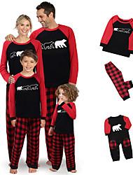 cheap -2 Piece Family Look Santa Claus Animal Print Long Sleeve Regular Clothing Set Black