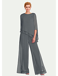 cheap -Pantsuit / Jumpsuit Mother of the Bride Dress Plus Size Jewel Neck Floor Length Chiffon 3/4 Length Sleeve with Draping 2020 Mother of the groom dresses