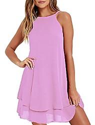 cheap -summer casual plus size solid chiffon strap beach a-line mini dress (m, pink)