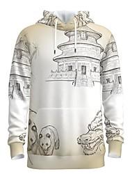 cheap -Men's Pullover Hoodie Sweatshirt Animal Patterned 3D Chinese Style Hooded Weekend 3D Print Casual Streetwear Hoodies Sweatshirts  Long Sleeve White