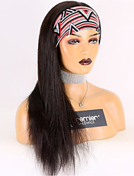 cheap -Remy Human Hair Wig Short Medium Length Long Straight With Headband Black Adjustable Thick Machine Made Brazilian Hair Natural Black #1B Medium Brown#4 Jet Black #1 8 inch 10 inch 12 inch / Very Long