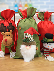 cheap -Christmas Toys Candy Bag Drawstring Christmas Bags Elk Snowflake Outdoor Indoor Gift Fabric 3 pcs Kid's Adults 37cm*19.5cm Christmas Party Favors Supplies