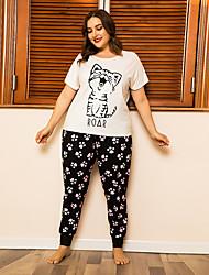 cheap -Women's Home Polyester Loungewear Cat XL White