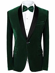cheap -men's tuxedo suit slim fit 2-piece velvet blazer party one button stylish dinner jacket & pants (green, m)