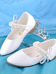 cheap -Girls' Flats Flower Girl Shoes Princess Shoes Comfort Faux Fur PU Little Kids(4-7ys) Daily Party & Evening Walking Shoes Bowknot Pearl White Pink Fall Spring