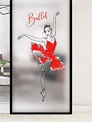 cheap -Frosted Privacy Ballet Girl Pattern Window Film Home Bedroom Bathroom Glass Window Film Stickers Self Adhesive Sticker