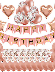 cheap -Party Balloons 39 pcs Happy Birthday Party Supplies Latex Balloons Banner Boys and Girls Party Decoration 12 Inch+18 Inch for Party Favors Supplies or Home Decoration