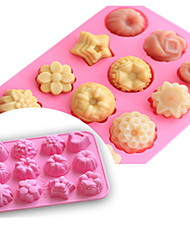 cheap -Silicone Fondant Cake Molds 12-Cavity Flower Shapes Non-Stick Kitchen Baking Pans Ice Cube Trays for Making Candy Chocolate Muffin Cupcake 4 Packs 2 Packs 1 Pack  Pink