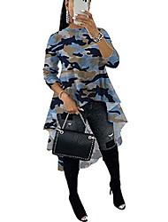 cheap -high low tops for women - ruffle asymmetrical irregular hem casual tops blouse tunic shirt dress small camouflage blue