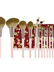 cheap -11 Pcs small pudding makeup brushes set beast wolf eye shadow brush pink series loose powder brush beauty tools
