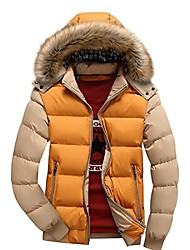 cheap -men's winter snow puffer coats fur hooded thick cotton-padded quilted warm down jacket