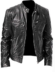 cheap -mens cafe racer retro vintage style real leather motorcycle jackets collections (xs, vintage black)