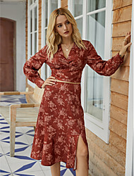 cheap -Women's Blouse Shirt Floral Leaf Flower Long Sleeve Print V Neck Vintage Streetwear Tops Red