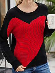 cheap -Women's Knitted Color Block Pullover Acrylic Fibers Long Sleeve Sweater Cardigans Crew Neck Fall White Black