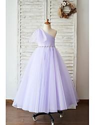cheap -Ball Gown Floor Length Wedding / Birthday Flower Girl Dresses - Tulle Sleeveless One Shoulder with Belt / Bow(s)