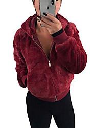 povoljno -ženske nejasne jakne od flisa otvoreni prednji dio kaputa s kapuljačom gornji dio odjeće s džepovima vinsko crveni m