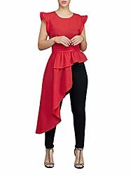 cheap -high low tops for women - ruffle short sleeve bodycon peplum