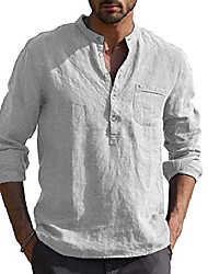 cheap -mens casual v neck cotton linen long sleeve hippie shirts banded collar henley tops with buttons grey xxl