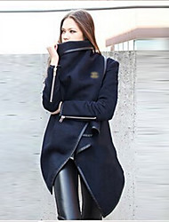 cheap -Women's Solid Colored Patchwork Streetwear Fall & Winter Trench Coat Long Daily Long Sleeve Cotton Coat Tops Black