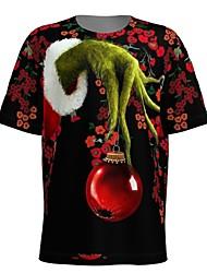 cheap -Men's 3D Graphic T-shirt Print Short Sleeve Christmas Tops Round Neck Wine