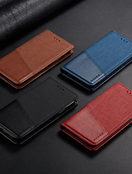 cheap -Case For OPPO OPPO A59 / Oppo Reno 4 / Oppo A92s Card Holder / Shockproof / with Stand Full Body Cases Solid Colored PU Leather