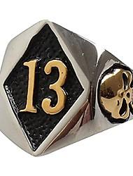 cheap -men's stainless steel no. 13 motorcycle biker ring evil skull gold size 8