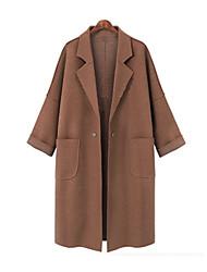 cheap -Women's Solid Colored Active Fall & Winter Coat Long Daily Long Sleeve Wool Coat Tops Dark Gray