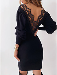 cheap -Women's Sheath Dress Knee Length Dress - Long Sleeve Solid Color Backless Lace Fall V Neck Casual 2020 White Black S M L XL