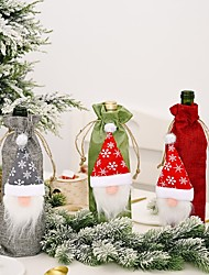 cheap -2pcs Christmas Decorations Forest Old Man Linen Wine Bottle Bag Creative Faceless Doll Wine Bottle Bag Wine Set