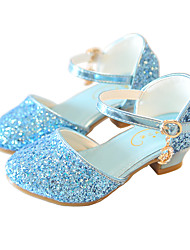 cheap -Girls' Heels Moccasin Flower Girl Shoes Princess Shoes Rubber PU Little Kids(4-7ys) Big Kids(7years +) Daily Party & Evening Walking Shoes Rhinestone Buckle Sequin White Dusty Rose Blue Fall Spring
