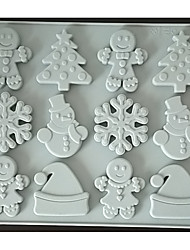 cheap -Gingerbread Man Snowflake Christmas Day Chocolate Silicone Mold Biscuit Candy Food Supplement Brown Sugar Cake Mold