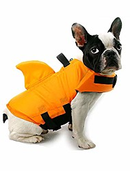 cheap -dog life jacket shark, dog life vest for small medium, professional pet dog lifesaver preserver cold weather coat swim suit perfect for safety swimming, boating, pool, beach (orange-l)