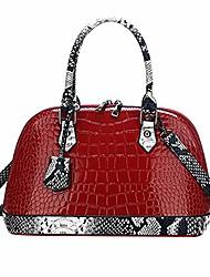 cheap -women zip around dome patent leather satchel purse crocodile&snakeskin pattern top handle tote bag shell shape shoulder crossbody handbag red