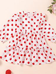 cheap -Kids Girls' Active Cute White Heart Print Long Sleeve Knee-length Dress White