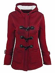 cheap -women plus size parka coat outwear slim fit winter warm trench overcoat hooded button jacket(wine,l)