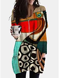 cheap -Women's Shift Dress Short Mini Dress - Long Sleeve Print Animal Patchwork Print Spring Fall V Neck Casual Boho Cotton Loose 2020 Red L XL XXL 3XL 4XL 5XL