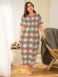 cheap -Women's Home Polyester Loungewear Plaid / Check XL Green