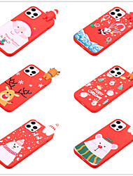 cheap -Case For Apple iPhone 12 / iPhone 12 Pro Max / iPhone 12 Pro Pattern Back Cover 3D Cartoon / Christmas TPU