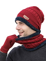cheap -Winter Beanie Hat Scarf Gloves Set for Men and Women, Beanie Gloves Neck Warmer Set with Warm Knit Fleece Lined Skull Cap Beanie Solid Color Woolen Cloth Black Burgundy Grey for camping hiking Ski
