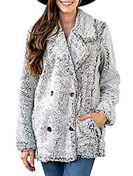povoljno -ženske povremene jakne čvrsta zima preveliki v izrez topla modna rever flis nejasne kardigane jakne otvorene prednje gumbe kaputi s džepovima gornja odjećasive male