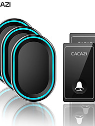 cheap -CACAZI Wireless Doorbell No Battery Required Waterproof 2Transmitter 3 Receiver Self powered Ring Bell