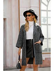 cheap -Women's Coat Solid Colored Basic Fall & Winter Peaked Lapel Long Daily Long Sleeve Wool Coat Tops Dark Gray