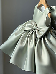 cheap -Princess / Ball Gown Short / Mini Party / Wedding Flower Girl Dresses - Satin Sleeveless Square Neck with Bow(s) / Pleats