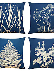 cheap -Set of 4 Simple Art Plant Linen Square Decorative Throw Pillow Cases Sofa Cushion Covers 18x18